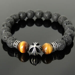 Men's Bracelet 10mm Lava Rock Tiger Eye 925 Sterling Silver Cross Bead 1102M