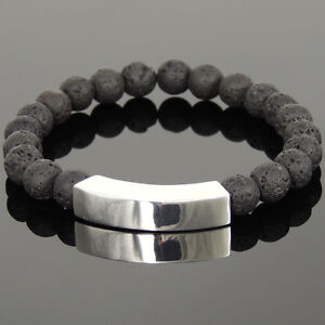 Men's Bracelet 8mm Lava Rock 925 Stamp Sterling Silver Charm DIY-KAREN 1100M