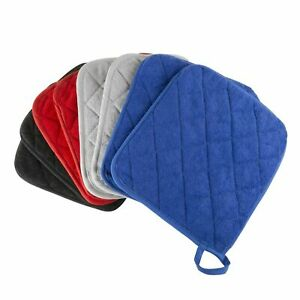Set of 2 Cotton Pot Holders Flame Heat Protection Big Oven Mitts 8 x 9