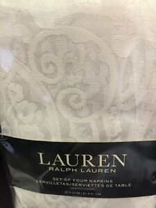 8 Lot set Ralph Lauren White Damask Paisley Napkins NEW Cotton blend