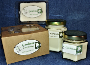 **NEW** Hand Poured Floral Gardenia Flower Soy Candles Tarts 4 Pack Votives $14.95