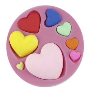 Heart Small 8 Sizes Silicone Mold for Fondant Gum Paste & Chocolate - NEW