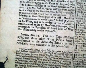 Very Rare Pirate CAPTAIN WILLIAM KIDD Execution Hanging PIRACY 1701 Newspaper
