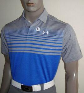 (036) 2017 Mens Under Armour Tour Logo Coolswitch Upright Golf Polo $85 (Blue)