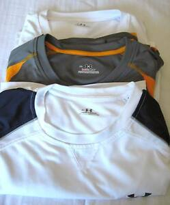 Lot of 3 Mens Under armour Athletic Shirt Sz XL Gray Orange and White Black Blue