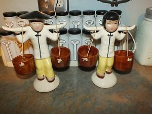 HTF Set Mid Century 50s Asian Chinese Man Woman Figurine Statue Water Bucket