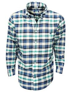 New Brooks Brothers- Large Plaid Oxford Sport Shirt NavyTeal Size Large