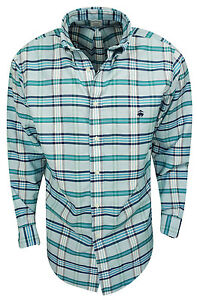 New Brooks Brothers- Tartan Oxford Sport Shirt Heritage Blue Size Large
