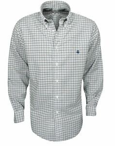 New Brooks Brothers- Mini Check Oxford Sport Shirt BrownBlue Size Large