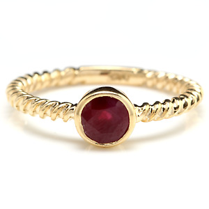 Splendid Natural Ruby 14K Solid Yellow Gold Ring