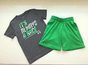 UNDER ARMOUR Lot 2 Boys Small It's Always A Race T Shirt & Dominate Shorts YSM