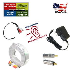CCTV Microphone for spy Security Camera RCA Audio Mic Cable & DC Power adapter