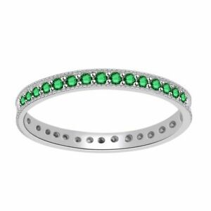 1 3 Carat Round Emerald 18K White Solid Gold Eternity Band Ring $612.54