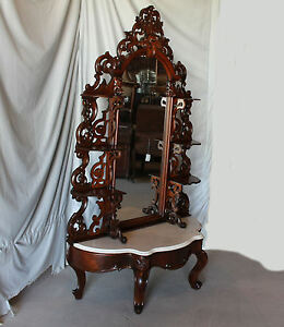 Antique Victorian Walnut Etagere – Great Entry Way Piece with Large Mirror