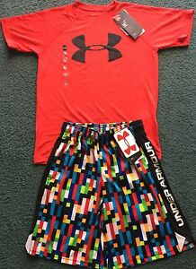 NWT Under Armour S Boys RedBlackMulti Color Minecraft Style Shorts