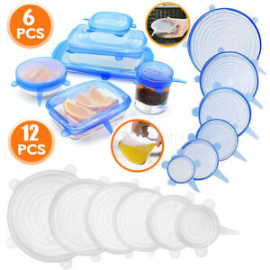 6 12x Reusable Silicone Stretch Suction Pot Lid Kitchen Bowl Cover Food Storage