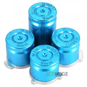 Durable Metal Alloy Bullet ABXY Buttons for Microsoft Xbox One Controller Blue
