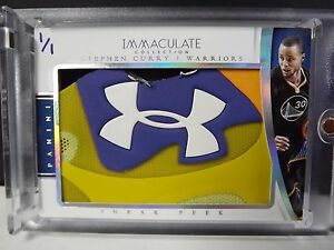 STEPH CURRY 2014-15 IMMACULATE TRUE 11 GAME USED SHOE CARD UNDER ARMOUR LOOK!