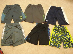 Youth boys Nike Under Armour dri-fit shorts 6 pairs size 7