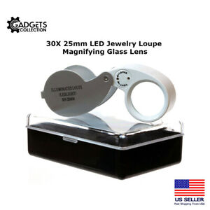 30X 25mm Lighted LED Illuminated Jewelers Jewelry Loupe Magnifying Glass Lens
