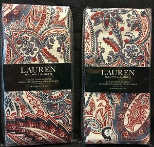 Set 8 Ralph Lauren Laveen Red White Blue Paisley 100% Cotton napkins