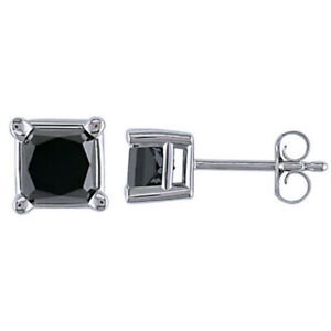 2 ct Square Princess Cut Black Diamond Solitaire Stud Earrings in 10K White Gold