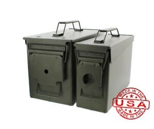 Battle Steel Military Cans .50 M2A1 & .30 M19A1 Cal Ammo Long Term Storage Boxes
