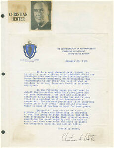 CHRISTIAN A. HERTER TYPED LETTER SIGNED 01 25 1956