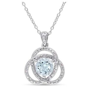 1 3 5 CT.Blue Topaz and 1 10Ct Diamond Pendant Necklace Silver