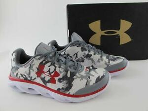 Under Armour NEW Grey Camo Spine Clutch Graphic Boys Youth 4.5Y Running Shoe BGS