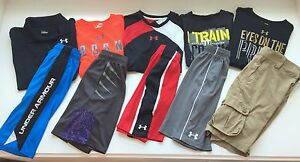 UNDER ARMOUR HUGE LOT 10 Boys Large Assorted Shorts Shirts YLG