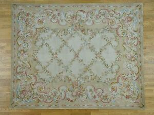 12'x15' Floral Trellis Design Thick And Plush Oversize Savonnerie Rug R36897