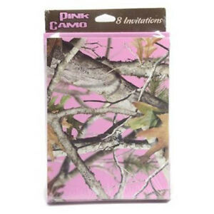 HUNTING AND FISHING Pink Camo INVITATIONS 8 Birthday Party Supplies Cards