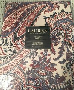60x120 tablecloth Ralph Lauren Laveen Red White Blue Paisley 100% Cotton