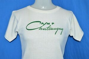 vintage 50s CAMP CHATEAUGAY CHAMPION RUNNING MAN WHITE SUMMER t-shirt XS