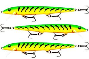 3 Rapala Original Floating Firetiger F13 FT Salmon Trout Pike Perch Bass Lures