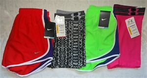 Lot 4 Womens Nike Dri Fit Running Under Armour Compression Shorts Small $120 NWT