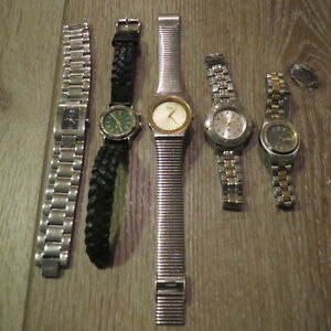 5 Ladies Wristwatch Fossil Citizen Relic Seiko Silver Braided Leather Bracelet