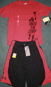 NWT Boys Under Armour L RedBlack MAKE EM JUMP Baseball Shorts Set YLG