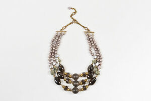 Stephen Dweck Bronze Pearl Smoky Quartz Multi Strand Statement Necklace