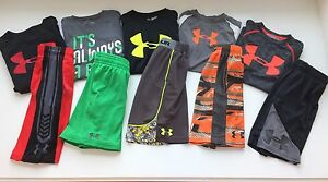 UNDER ARMOUR HUGE LOT 10 Boys Small Assorted Shorts Shirts YSM Ultimate Big Logo