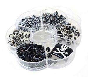 DIY Jewelry Making kit bead box lot Black 6 different Variety Beads Pirate Skull