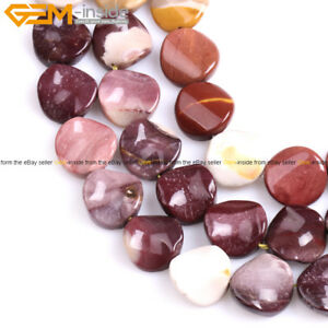 16mm Twist Flat Coin Natural Gemstone Loose Beads Jewelry Making Strand 15