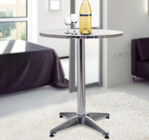 HomCom Modern Round Bar Table Adjustable Bistro Pub Counter Aluminum Indoor