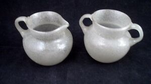 Artist Made K. Horan Silvery Poured Lava Blown Bubble Glass Creamer Cream Sugar