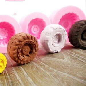 3D Silicone Tires Wheel Fondant Cake Molds Chocolate Cookies Mould Bakeware Q