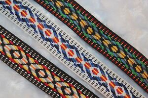 $1 yard Woven Aztec Reversible jacquard trim Black White Red Green Blue Yellow