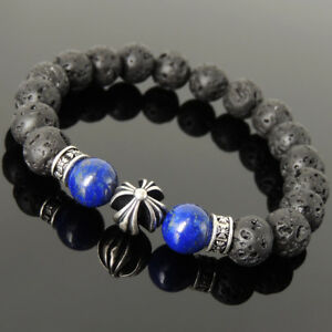 Men's Women Lava Rock Lapis Bracelet 925 Sterling Silver Cross Bead Spacers 1197