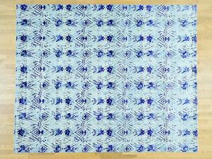 8'x10' Sari Silk With Oxidized Wool Hand-Knotted Ikat Design Rug Sh32690