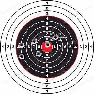 Target Shooting Bullet Background 7.5 Inch Round Edible Icing Party Cake Topper